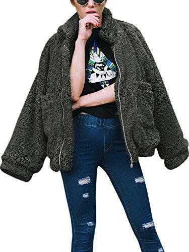 ECOWISH Damen Mantel Revers Faux Für Lose Langarm Outwear Tasche Reißverschluss Winterjacke Mode Kurz Coat Grün XXL