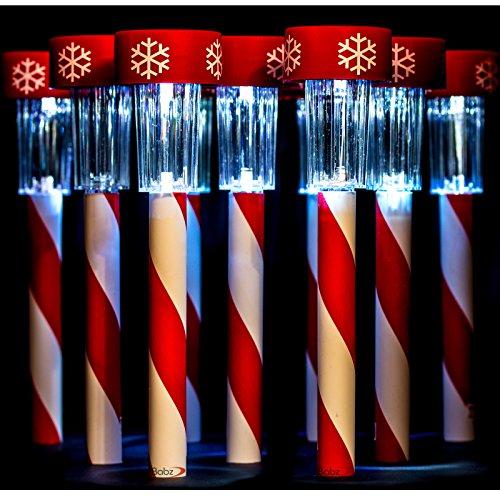 Babz 10x LED Weiß Garten-Weihnachten Schneeflocke Solar Wiederaufladbare Kunststoff der Post Lichter Lampen Rohr Patio (Patio Lichter Post)