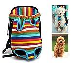komener Pet Puppy Dog Bolsa de hombro transportista mochila portátil de viaje–Rainbow Stripes