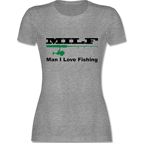 Angeln - Milf Man I Love Fishing - XL - Grau meliert - L191 - Damen Tshirt und Frauen T-Shirt