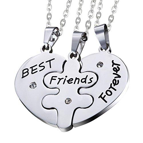 """Oidea 3PCS Freundschaftsketten mit Anhänger Set , Edelstahl Puzzle Herz Anhänger mit Gravur """"Best Friends Forever"""" mit Strass Partner Ketten , silber"""