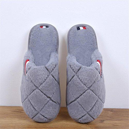 Chaussons Pantoufles d'hiver en peluche Chaussons en coton Faux en fourrure Décapants antidérapants grey