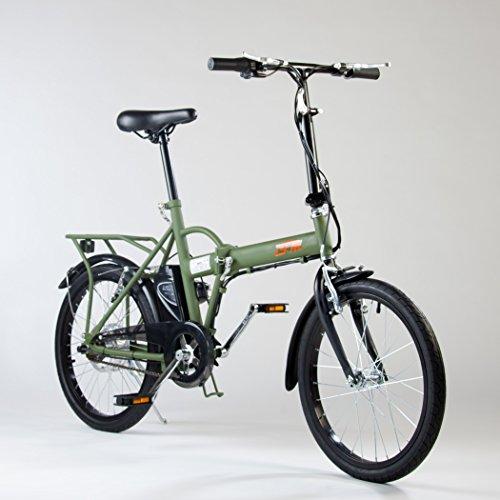 Bicicletta Elettrica IFM Verde Militare Pieghevole Batteria Litio