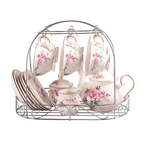 europeo Porcelana blanca y translúcida,camelia de oro impreso Cerámico conjunto de taza de té Con tapa y Platillo