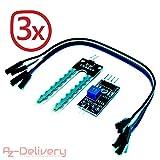 AZDelivery ⭐⭐⭐⭐⭐ 3 x Hygrometer Boden Feuchtigkeit Module Bodenfeuchtesensor für Arduino mit gratis eBook!