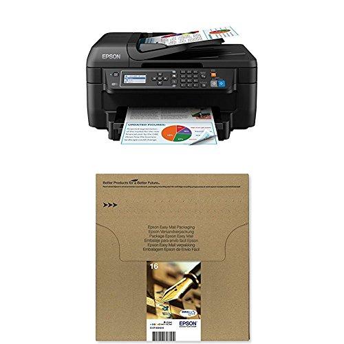 Epson WorkForce WF-2750DWF 4-in-1 Multifunktionsdrucker schwarz + Original T1626 Füller, wisch- und wasserfeste Tinte (CYMK) + passende Druckerpatrone