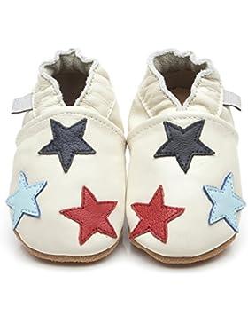 Zapatos para bebé (piel de Luxe pequeña estrellas crema
