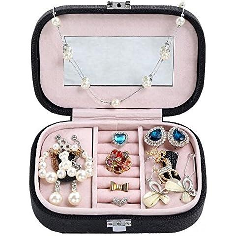 WODISON Cuoio viaggio scatola di gioielli per Orecchini Anelli collana bagagli (Nero)
