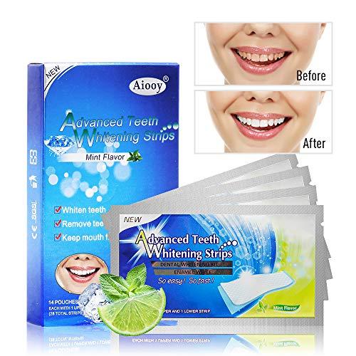 Aiooy 28pcs Tiras de Blanqueamiento Dental Tiras