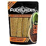 FLEXILACES - elastische Schnürsenkel | nie Wieder Schuhbänder binden - Gold