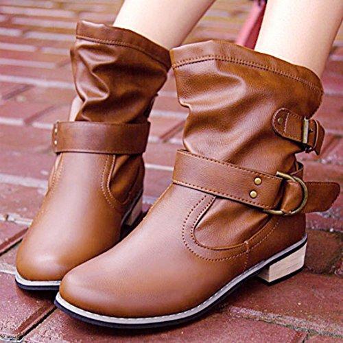Longra Cuoio artificiale in autunno e inverno in pelle solida, scarpe basse in pelle tacco basso Martin Marrone
