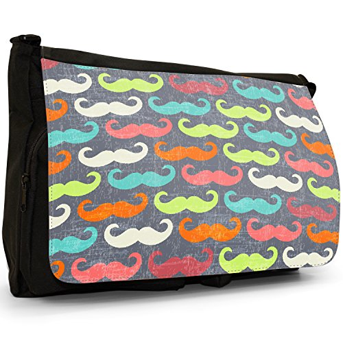 Trendy con baffi Hipster, motivo: baffi, colore: nero, Borsa Messenger-Borsa a tracolla in tela, borsa per Laptop, scuola Nero (Blue Red Orange Moustaches)