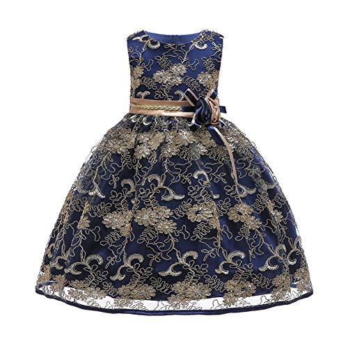 3bb7edcf7da7 YFCH Bambina Ricamo Fiore Vestiti da Cerimonia Eleganti Senza Maniche  Matrimonio Partito Comunione Abiti Principesse Bimba