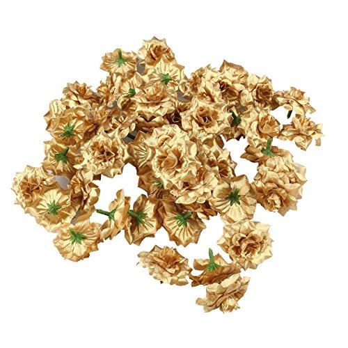 VORCOOL 50 Stück Kunstblumen Rosenköpfe Stoffrosen Deko-Blüte (Golden)