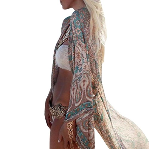 LuckyGirls Damen Boho Kimono Bikini Cover Up Sommerkleid StrandKleid 3/4 Ärmel Lang Schal Cardigan Top (S, Grün) - Denim-kimono