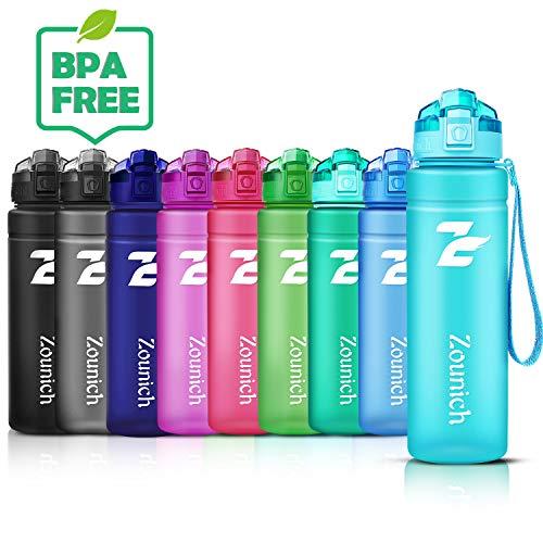 ZOUNICH Trinkflasche Kinder Sport 1.2L/1L/700ml/500ml BPA frei öko tritan Kunststoff Wasserflasche 1liter Sportflaschen Auslaufsichere für Fahrrad,Gym,Schule,Flip Top,öffnet Sich mit 1-Click, Infuser