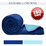 Divine Casa Polyester Single Comforter/Blanket/Quilt For All Weather-Navy Blue & Sky Blue, Stripe (150 GSM)