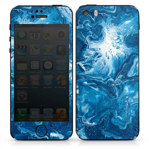 Apple iPhone 4s Case Skin Sticker aus Vinyl-Folie Aufkleber Marmor Muster Blau DesignSkins® glänzend