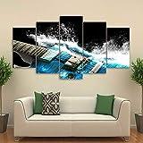 KDSFHLL Fünf-Tafel-Dekorationsmalerei 5 Stück Wasser Gitarre Leinwandbild Kalligraphie Poster Drucken Leinwand Malerei Wandbilder Für Wohnzimmer