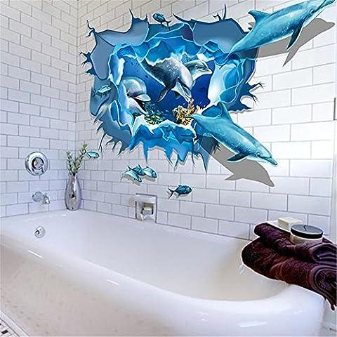 Amovibles 3D Ocean Stickers Monde,Fami Dolphin murale bricolage Wallpaper Décoration