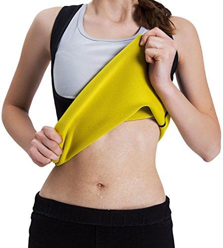 Body Shaper Damen Sauna West Shapewear Corsage Training Taillenformer Schwitzen Strafft Die Bauchregion Und Schnell Abnehmen Neopren Schwarz XL