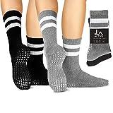 LA Active Calze Presa Antiscivolo Cotone - Per Yoga Pilates Danza Sbarra Ospedale - Crew (Jogger Grey e Tuxedo Black)