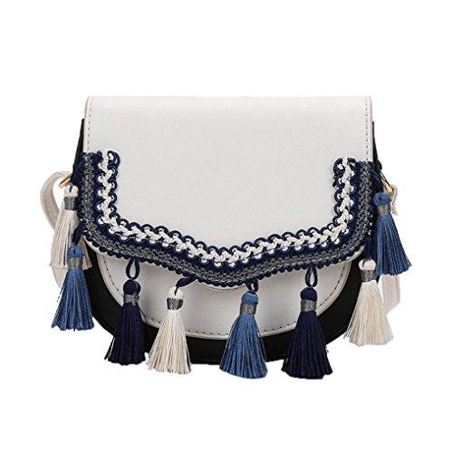TUDUZ Umhängetasche Damen Crossbody Tote Über Schulter Crossbody Quaste Geldbörsen Handtaschen (Weiß)