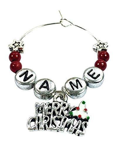 n Merry Christmas Wein Glas Charme mit Geschenk Karte handgefertigt von Libby 's Market Place ()