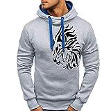 VRTUR Herbst Hoodie Winter Sweatshirt Zur Seite Fahren Gedruckt Outwear Bluse Kapuzenpullover Top Bluse(XL,Grau)