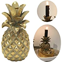 Design Kerzenhalter Kerzenständer Ananas Gold Skulptur Deko Dekofigur  19x9cm LS Design