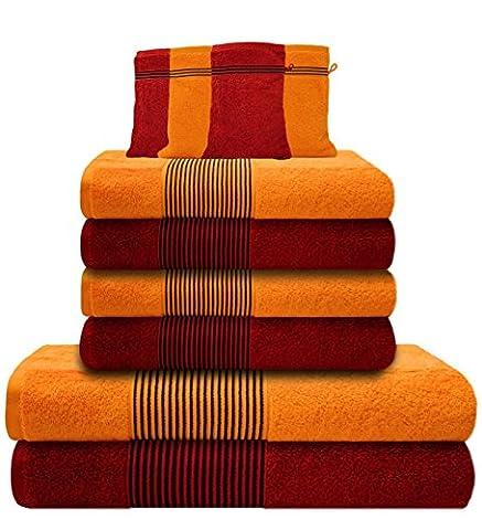 Liness-Stripes 10 tlg Handtuch-Set 4 Handtücher 50x100 cm 2 Duschtücher Badetücher 70x140 cm 4 Waschhandschuhe Waschlappen 16x21 cm 100% Baumwolle orange
