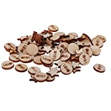 #5: Segolike 100 Pieces 14mm Round and Pentagram Shape Wood Craft for Wedding Party Table Decor