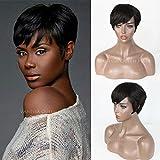 maycaur kurz Wave Echthaar Perücken für Frauen unbehandeltes brasilianisches Haar schwarz kurz Bob Perücken 15,2–20,3cm