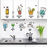 Pegatinas de pared de puerta cocina,Frío bebidas refrigerador té tienda stickers decorativos auto adhesivos murales etiqueta cocina estufa linda bebida calcomanías de la puerta-A