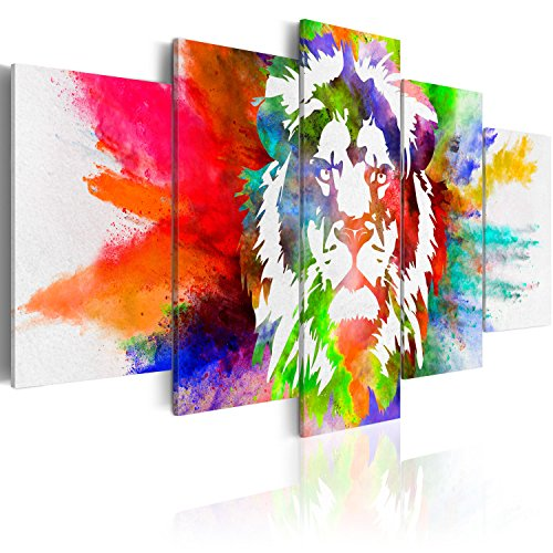 murando - Bilder 200x100 cm Vlies Leinwandbild 5 TLG Kunstdruck modern Wandbilder XXL Wanddekoration Design Wand Bild - Abstrakt Tiere Löwe bunt g-C-0019-b-o