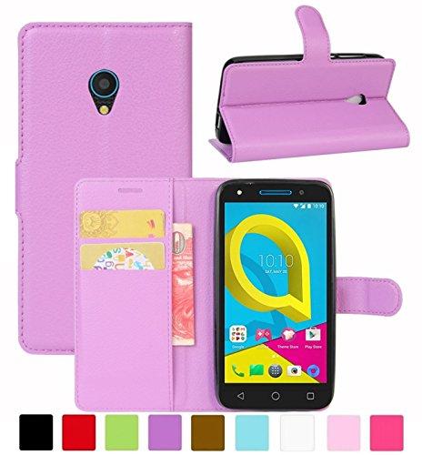 HualuBro Alcatel U5 3G Hülle, Leder Brieftasche Etui Tasche Schutzhülle HandyHülle [Standfunktion] Leather Wallet Flip Case Cover für Alcatel U5 3G (Violett)