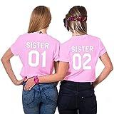 Freunde T-Shirt mit Sister Aufdruck für Zwei Damen Mädchen Sommer Oberteil Geburtstagsgeschenk 2 Stücke Partnerlook Kurzarm Tops (Rosa, Sister 01-M + Sister 02-M)