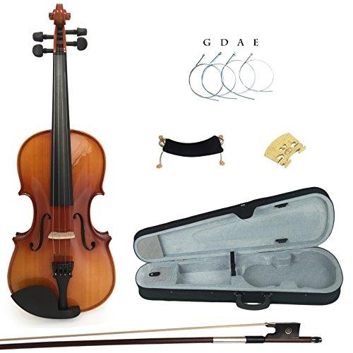 Kinglos PJB1002 4/4 Massivholz Schüler Akustische Violine Geige Anlasser Ausrüstung in Voller Größe (Schüler 4 4 Violine)