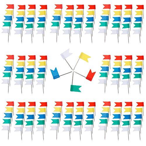 (Anpro 200 Markierungsfahnen Markierfähnchen Markierungsnadeln für Weltkarte Pinnwand, Bunt, EINWEG)