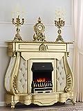 Chimenea eléctrica barroco francés hoja oro mármol crema sintética champán botones Swarovski