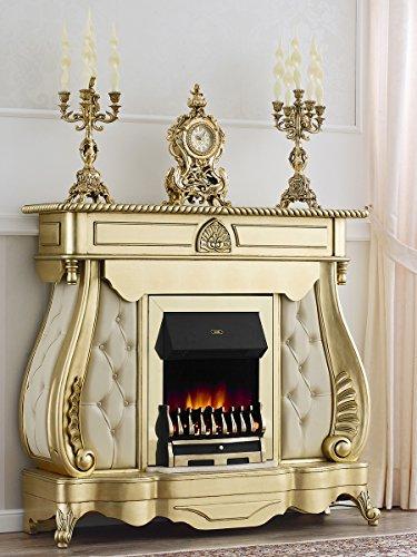 Simone Guarracino Dekokamin Elektrokamin Französisch Barock- Stil Blattgold Marmor Farbe Creme mit...