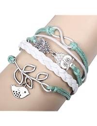 Patrabeauty Retro Owl Infinity Olive Branch Bracelet Braided Leather Rope Wrap Infinite Bangle+Free Fashion Gift