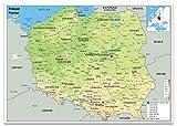 Polen Physikalische Karte–Papier laminiert [GA] A0 Size 84.1 x 118.9 cm