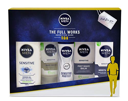 Nivea Men Gift Set, The Full Works Gift Pack for Him with 5 Items