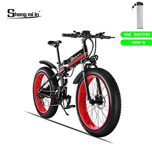 Shengmilo Elektrisches Faltrad, 26 Zoll Mountain Snow E- Bike Früher Shimano 21 Speed, XOD-Bremse, 1 Stück 48V / 13Ah Lithiumbatterie enthalten (MX01) (ROT)