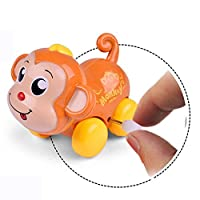 Mumustar 1pc Kids Toddlers Monkey Clockwork Car Educational Car Head Tail Swing Childrens Learning & Activity Wind Up Toys Color Random