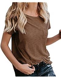 QinMM Camiseta Básica de Algodón Suelta Para Mujer, Camisa Deportiva de Manga Corta ...