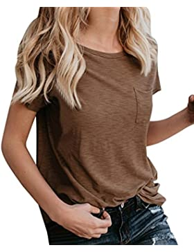 QinMM Camiseta Básica de Algodón Suelta Para Mujer, Camisa Deportiva de Manga Corta con Bolsillo
