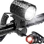51PfPndqRcL. SS150 Leynatic Luci Bicicletta LED, Luci per Bici Ricaricabili USB 4400mah Batteria Caricata - Super Bright LED 1200 Lumen Set…