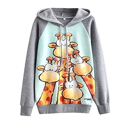 TianWlio Frauen Hoodie Pullover Langarmshirt Kapuzenpullover Sweatshirt Herbst Fleecepullover Lässige Herbst Langarm Mittelmeer Giraffe Print Plus Samt Bluse